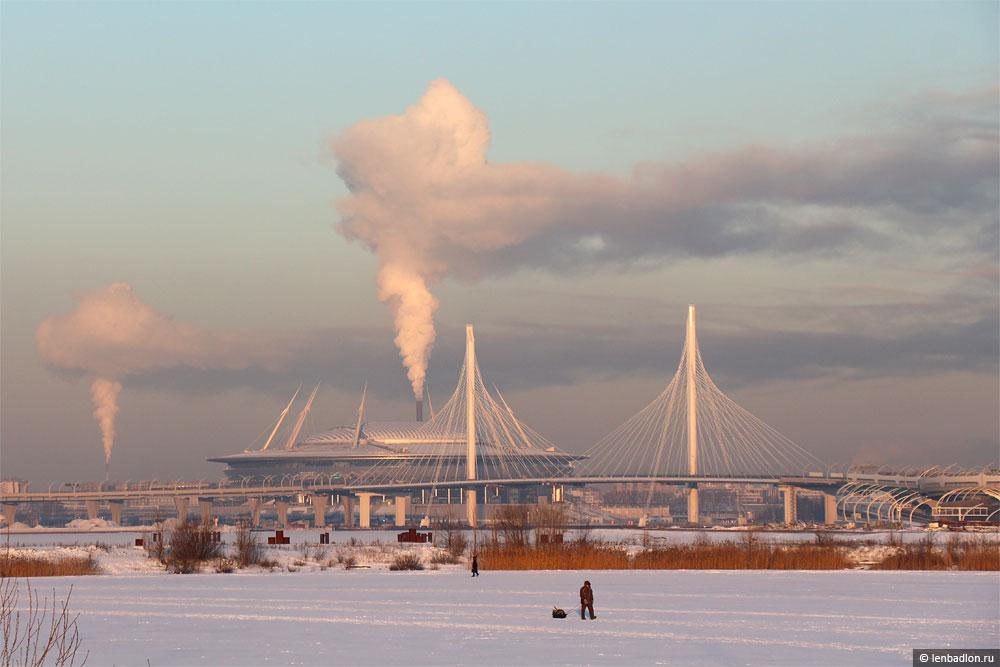 Вантовый мост в составе ЗСД и стадион Зенит-Арена