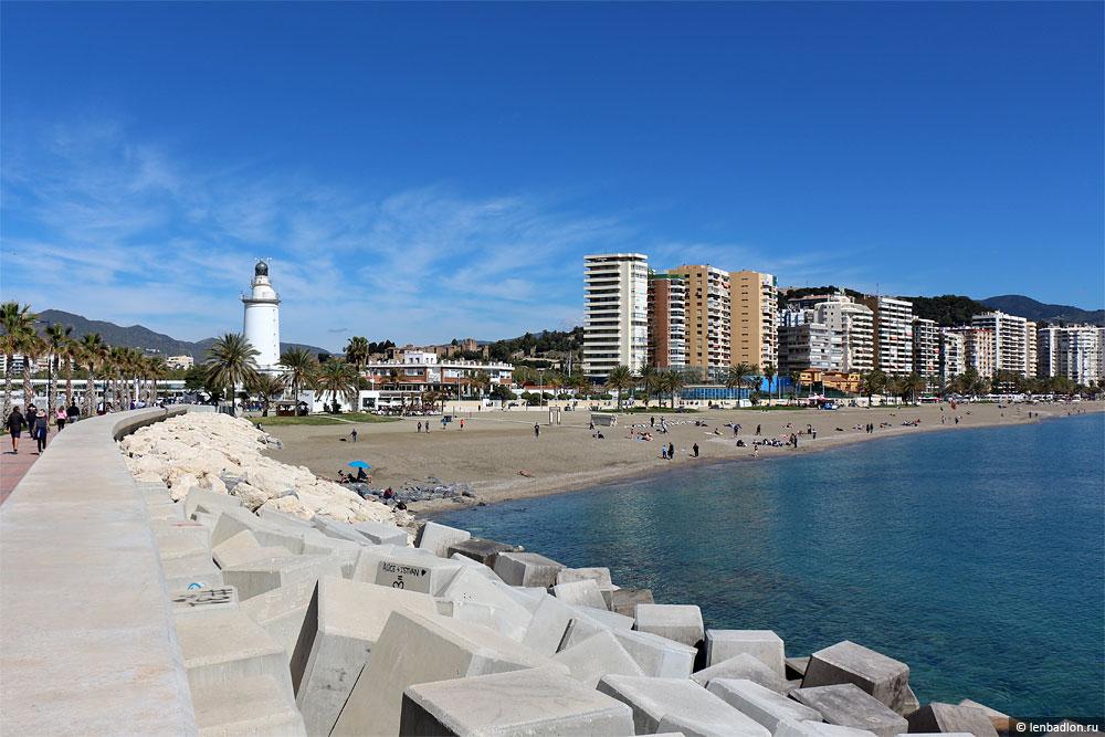 Пляж в Малаге, Испания